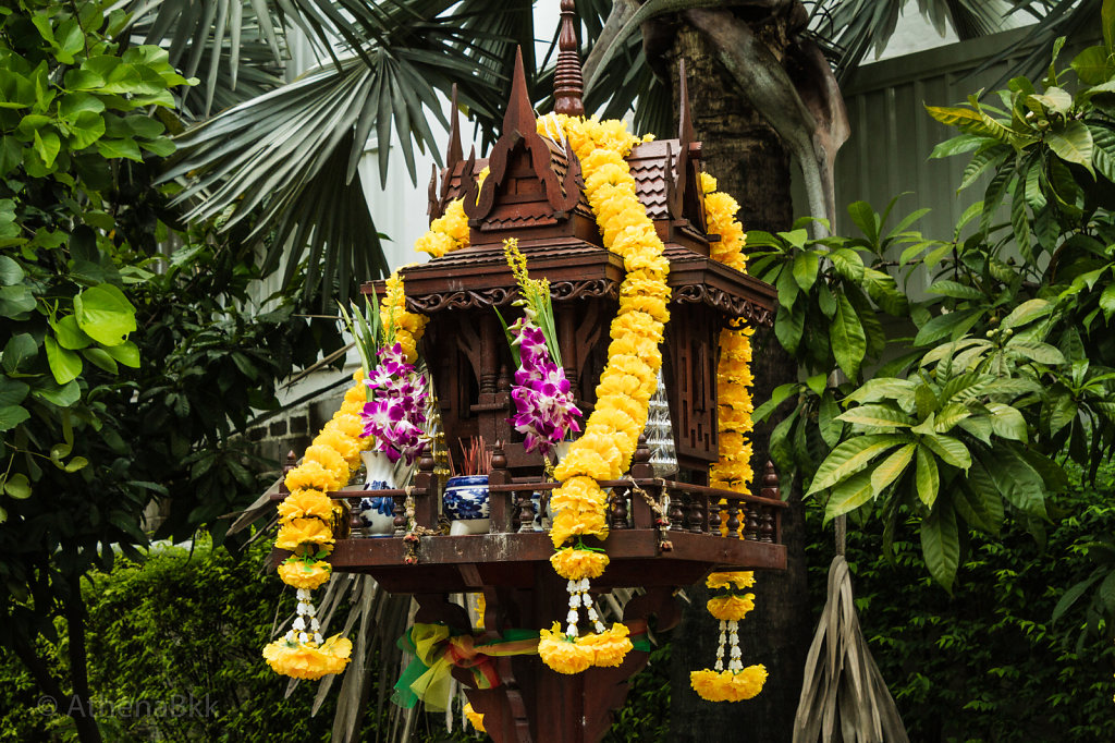 Marigold Garlands adorn a Thai Spirit House
